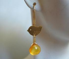 Yellow Chalcedony heart briolette and little bird earrings