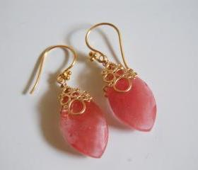 Beautiful Cherry Quartz Marquise brolette dangle earrings