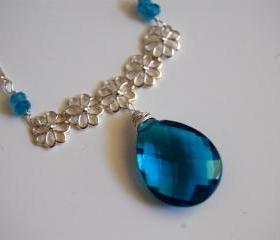 Gorgeous London Blue Quartz and London blue topaz necklace