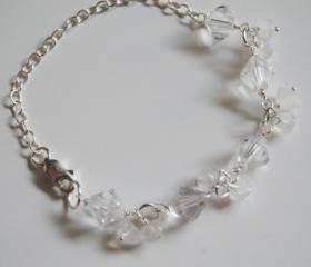 Moonstone , Swarovski Crystal Sterling silver Bracelet