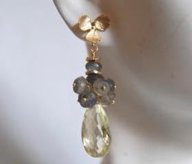 Gorgeous Lemon quartz and blue flashy Labradorite earrings