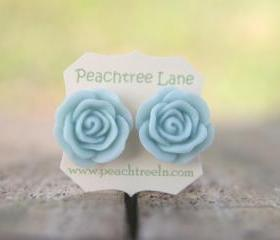 Large Baby Blue Rose Flower Stud Earrings perfect for Bridesmaid or Maid of Honor Gifts