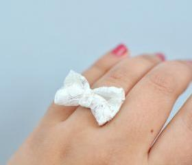 Sweetheart Lace Bow Ring by KimArt - made to order