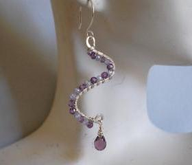 Shaded purple natural zircon , crystal briolette and hand-forged earrings
