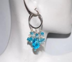 Swiss blue crystal and natural blue zircon earrings