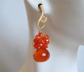 Orange quartz onion briolette and orange Carnelian dangle earrings