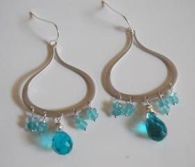London blue quartz, Apatite Chandelier earrings