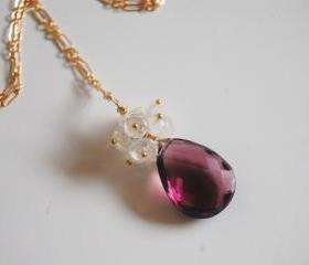 Rhodolite and Moonstone necklace with gold filled chain