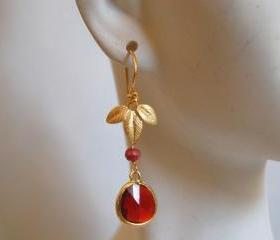 Bezel setting Glass Garnet and ruby earrings