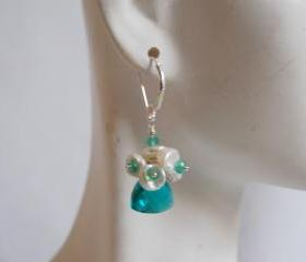 Paraiba blue Quartz Earrings with Keishi pearls and green Onyx