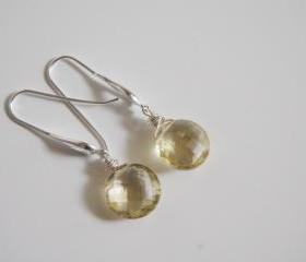 Gorgeous Lemon quartz long drop earrings with sterling silver