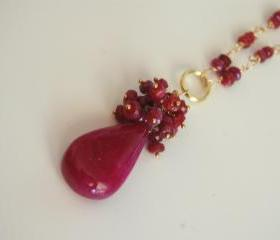 Beautiful Smooth Ruby briolette and Ruby rondelles gold filled necklace