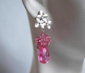 AAA Hot Pink quartz briolette and mystic Rubelite dangle earrings