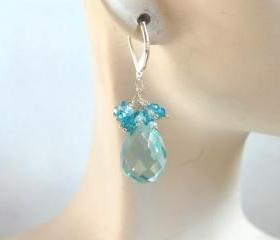 Swiss blue crystal quartz and blue zircon dangle earrings