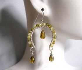 Green shaded zircon and olive green crystal quartz dangle earrings
