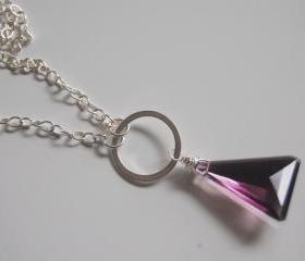 Triangle Amethyst Necklace with flower charm and sterling silver