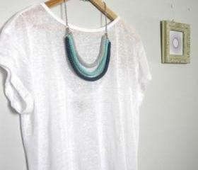 Orbits, crochet bib necklace in charcoal, mint and pale grey