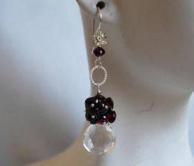 Heart briolette Crystal quartz and garnet earrings