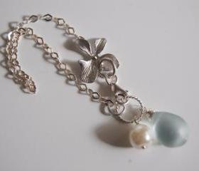 Orchid Charm bracelet with light blue quartz, pearl and sterling silver