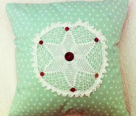 vintage doily green floral handmade cushion with button details.