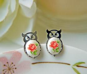 Owl Vintage Post Earrings. Fukuro. Lucky And Auspicious.