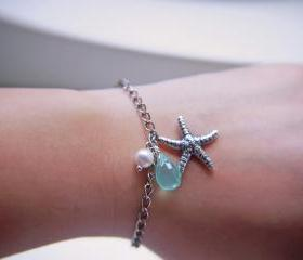 Starfish Bracelet. Antique Silver Finish. Marine. Summer. Beach
