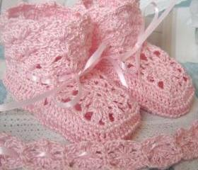 PARIS Luxury Crochet Heirloom Baby Booties in Pink or White Cotton with Satin Ribbon 0 to 3 months