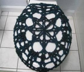 Crochet Toilet Seat Cover, Toilet Seat Cozy - Tweed teal/purple (TSC2)