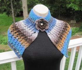 Knit shawl, neck warmer - mosaic (A2)