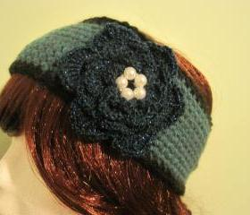 Crochet headband or neckwarmer - teal heather/black (H1/N1)