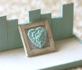 Dollhouse Miniature Blue Shabby Chic Framed Applique Decoration 