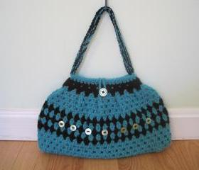Crocheted purse/handbag - medium - green/black (P1)