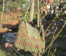 Crocheted purse/handbag - medium - tweed/olive (P2)