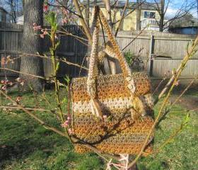 Crocheted tote/handbag - large - tweed/brownish/rococo (P3)