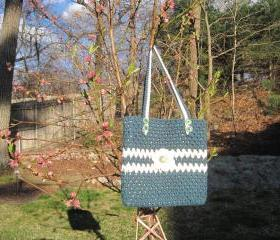 Crocheted tote/handbag - large - teal heather/white(P4)