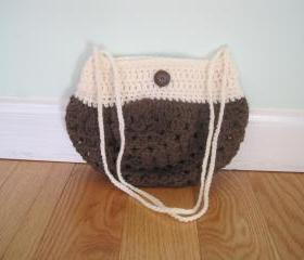 Crocheted purse/handbag - small - brown/white (P6)