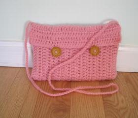 Purse, crocheted - small - pink (P10)
