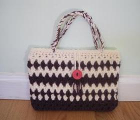Crocheted purse/handbag - small - purple/white (P12)