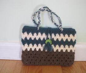 Crocheted purse/handbag - small - brown/teal heather/white (P13)