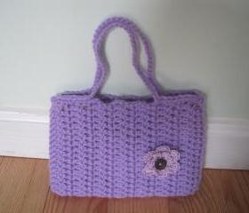 Crocheted purse/handbag - small - light purple (P18)