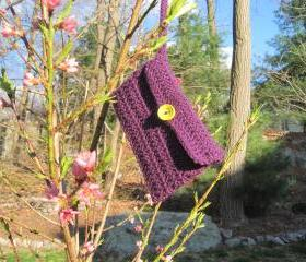 Crochet wristlet, handbag - small - dark purple (p19)