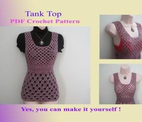 Crochet Pattern - Tank Top (14VC2012) - Perfect for Warm-weather Wear
