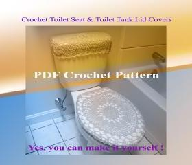 Set of 2 Crochet Patterns - Toilet Seat Cover (8VC2012) & Toilet Tank Lid Cover (9VC2012)