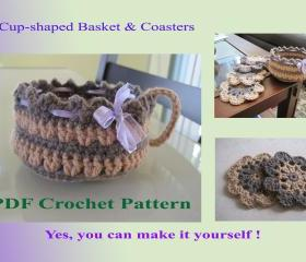 2 Crochet Patterns - Cup-shaped Basket and Flower Coasters (10+1VC2012)