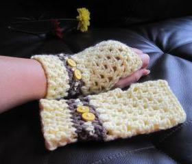 Crochet gloves mittens wrist warmers fingerless - yellow brown (G1)