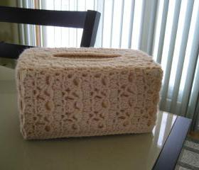 Crochet Tissue Box Cover - Beige (TBC2)