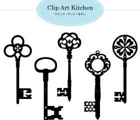 Printable Digital clip art : Vintage Key