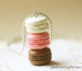 Macaron Jewelry - Trio Macarons Necklace - Neapolitan Macarons - Holiday Gift