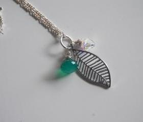 Emerald green quartz, swarovski crystal and leaf necklace with sterling silver chain