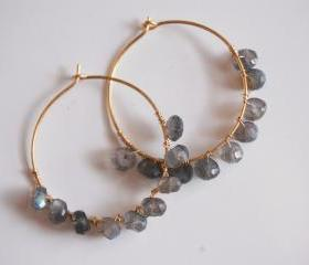 Labradorite Hoop Earrings with Gold filled